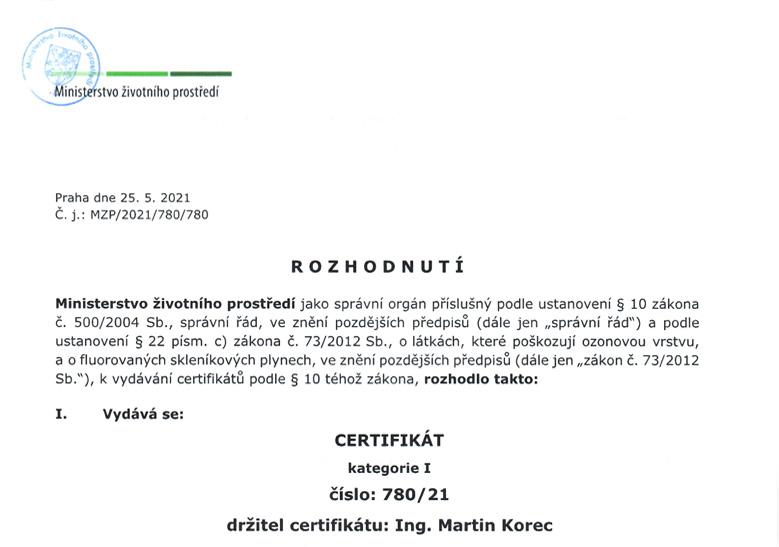 certifikát plany 2021